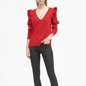 Banana Republic Merino Ruffle Shoulder Sweater